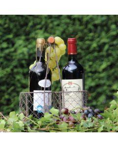 Flaschenkorb Cicero für 2 Flaschen, Eisen, braun