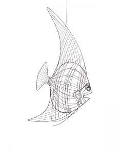 Draht-Fisch Nessi, klein, grau