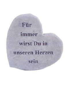"""Gedenkherz """"Für immer wirst Du..."""", Steinguss"""