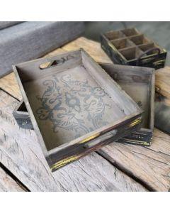 """Tabletts """"Hoka"""", 2er-Set, Holz, mit Ornamenten"""