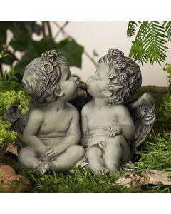 Rosenengelpaar, Kiss, betonfarben, Resin