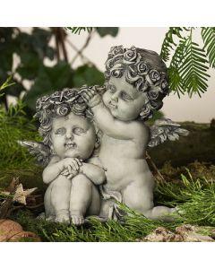 Rosenengelpaar Libula, betonfarben, Resin, 16 cm,