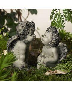 Rosenengelpaar Balina, betonfarben, Resin,2er Set