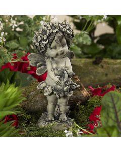 Elfe Lalula, stehend, mit Hase, betonfarben