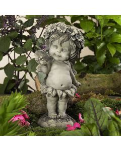 "Elfe ""Lalula"", stehend, mit Blüte, Resin"