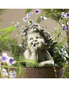 Pflanzensticker Engel Rosa, Resin, betonfarben,