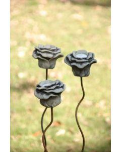 Rose auf Stab zum Stecken für Teelicht, Steinguss