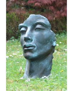"""Gesicht """"MANN"""", Steinguss, Bronze Effekt, klein"""