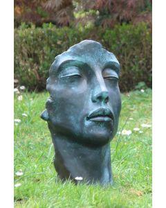 """Gesicht """"FRAU"""", Steinguss, Bronze Effekt,  klein"""