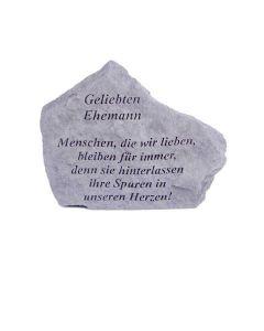 """Gedenkstein """"Geliebten Ehemann..."""", Steinguss"""