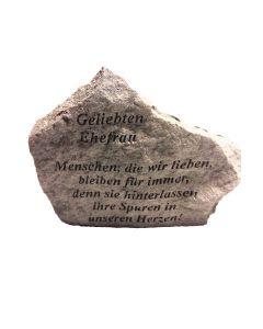 """Gedenkstein """"Geliebten Ehefrau..."""", Steinguss"""