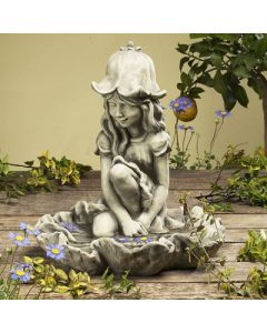 Vogeltränke Glockenblümchen, Mädchen, Betonguss,