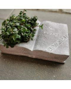Gedenkbuch mit Spruch, zum bepflanzen, Zementguss