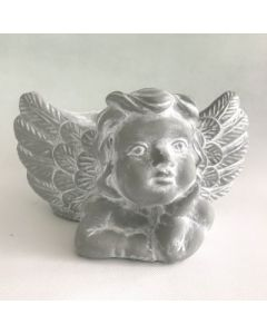 Engel mit Pflanztopf, Zementguss