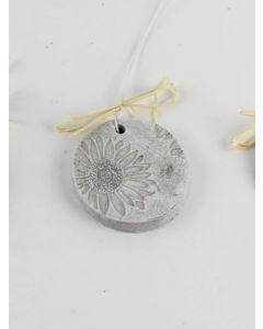 "Medaillon ""Sonnenblume"", mittel, grau, Zementguss"