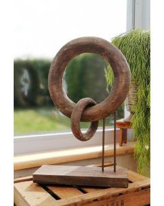 Holzobjekt Kette, zwei Ringe