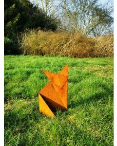 "Metall-Origami ""Fuchs"", klein, rostig"