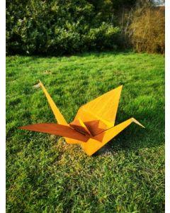 "Metall-Origami ""Kranich"", mittel, rostig"
