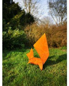 "Metall-Origami ""Eichhörnchen"", mittel, rostig"