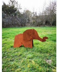 """Metall-Origami """"Elefant"""", groß, rostig"""