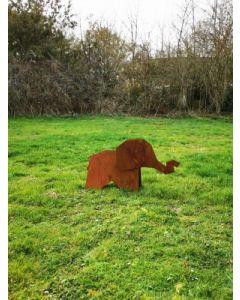 """Metall-Origami """"Elefant"""", mittel, rostig"""