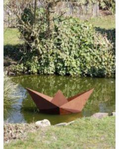 "Metall-Origami ""Boot"", mittel, rostig"