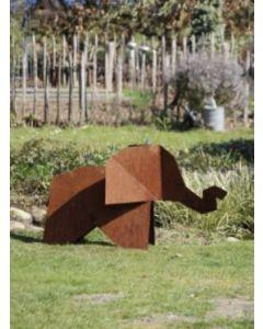 "Metall-Origami ""Elefant"", XXL, rostig"